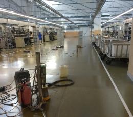 Сверление технологических отверстий в бетонном полу без пыли (Камвольный комбинат)