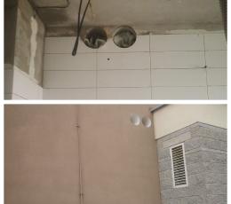 Сверление стен с плиткой под трубы (вид снаружи и внутри)
